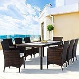Deuba® Poly Rattan Sitzgruppe 8+1 Braun | 8 stapelbare Stühle | Essgruppe Set - 2