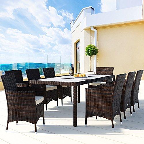 Deuba® Poly Rattan Sitzgruppe 8+1 Braun | 8 stapelbare Stühle | 7cm dicke Sitzauflagen Creme | wetterfestes Polyrattan [ Modell- & Farbauswahl 4+1 / 6+1 / 8+1 ] - Gartenmöbel Gartenset Lounge Sitzgarnitur Essgruppe Set - 2