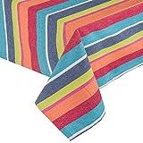 Homescapes Tischdecke Multi Stripes bunt gestreift 140 x 140 cm aus 100% reiner Baumwolle, Tischtuch waschbar