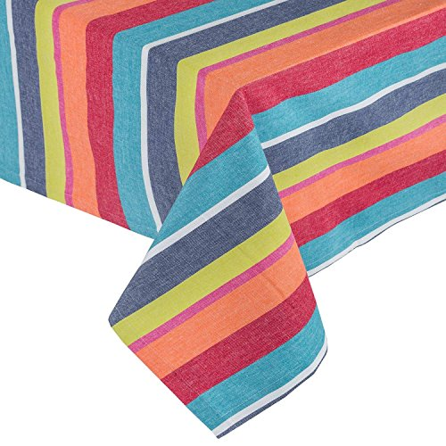 Homescapes Tischdecke Multi Stripes bunt gestreift 140 x 230 cm aus 100% reiner Baumwolle, Tischtuch waschbar