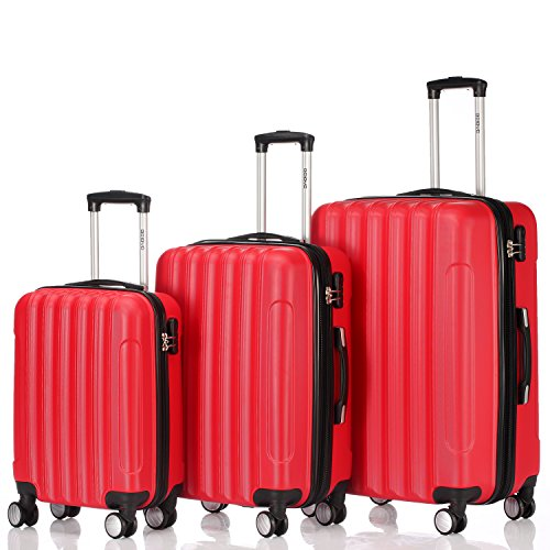 Zwillingsrollen 2050 Hartschale Trolley Koffer Reisekoffer in M-L-XL-Set in 12 Farben (Set , Rot)