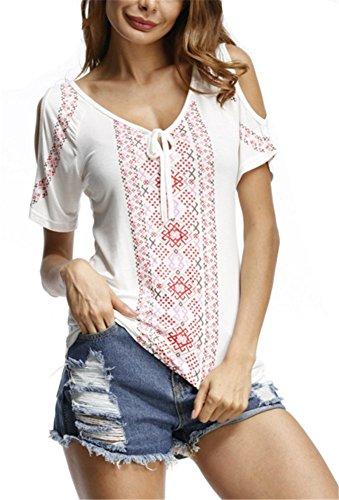 YOGLY Été Sexy Femmes Fleur Casual v-Cou hors Épaule T-Shirt Manches Courtes Casual Shirt Blouse Chic Tops Blanc