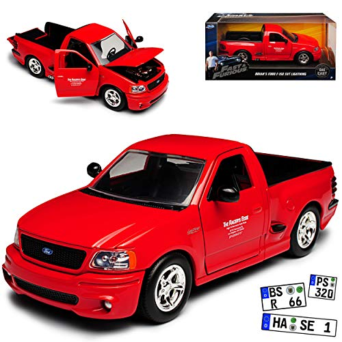 Jada Ford F-150 SVT Lightning Rot Brian O\'Connor Paul Walker The Fast and The Furious 1/24 Modell Auto mit individiuellem Wunschkennzeichen