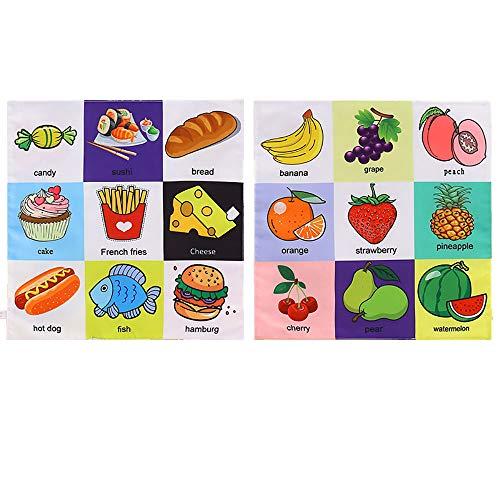 homese Baby Tuch Buch Soft Books Lernen Tierverkehr Obst Alphabet Bedtime Reading für Boy & Girl Frühe pädagogische Aktivität Spielzeug Baby Shower Geschenk Lebensmittel Obst