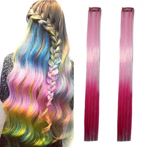 Miya® 1 Stück Clip-In-Haarteil, Haarverlängerung, Perücken, Kunsthaar in schöner Gradient Farbe, sehr schönes Accessoire für Party, Fasching, Karneval, Fest, Farbe Pink - Teezers Kostüm