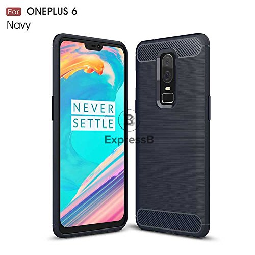 Oneplus 6 Case, Carbon Fiber Brushed Texture Armour Back TPU Soft Case Cover for Oneplus 6 || 1+6 (Black) (Navy...