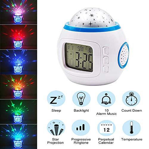 Hangang Cambio de Color Despertador niños Dormir Reloj proyección Cielo Estrellado música Reloj Digital...