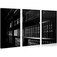 Gallery of Innovative Art – Black & White Bookshelf – 120x80cm – Larga stampa su tela per decorazione murale – Immagine su tela su telaio in legno – Stampa su tela Giclée – Arazzo decorazione murale