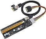 كابل USB 3.0 60 سم PCI Express 1x إلى 16x Riser Card Adapter PCI-E Extender +15 Pin Sata إلى 4Pin IDE Molex Power Supply