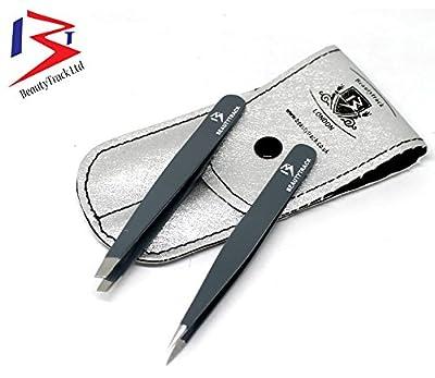 BeautyTrack Slant Tweezers - Eyebrow Hair Removal tweezers. Stainless Steel - Pointed Tweezer & Slant With Case
