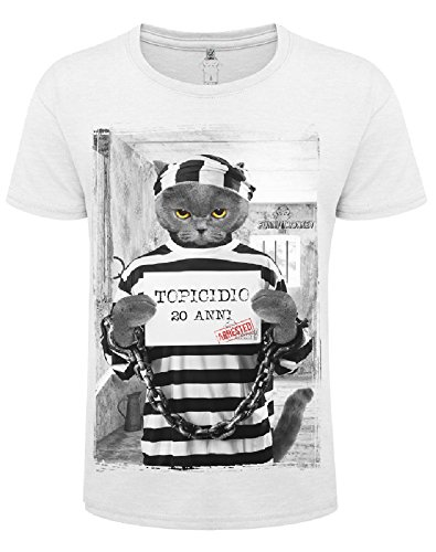 fe6a5879d4261 FUNNY MONKEY T-Shirt Modelo Mouse Killer Camiseta Blanca para Hombre (L)