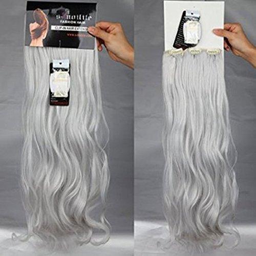 S-noilite® set 8pcs 60cm extension capelli clip nelle estensioni dei capelli della parte dei capelli ondulato o liscio pieno testa vari colori grigio argento