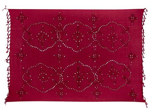 Sarong Handbestickt inkl. Sarongschnalle im Fisch Design - Viele Größen und exotische Farben und Muster zur Auswahl - Pareo Dhoti Lunghi Fuchsia