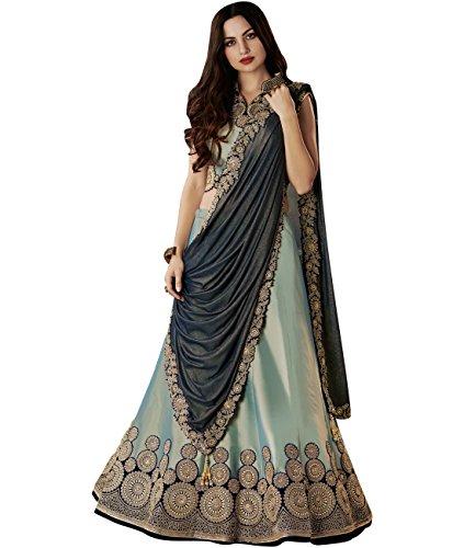 Indian Ethnicwear Bollywood Pakistani Wedding Pastel Blue A-Line Lehenga Semi-stitched
