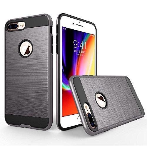 UKDANDANWEI Apple iPhone 8 Plus Étui,Coque Back Cover Rigide Antichoc Renforcée Housse de Protection Étui à rabat Case pour Apple iPhone 8 Plus - Noir Gris