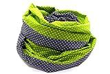Lieblingsmanufaktur Damen Punkte Loopschal Grün Grau - Ein Loop Schal bunt und farbenfroh, aus reiner Baumwolle. Macht Deine Welt fröhlicher. HERGESTELLT in unserer kleinen Manufaktur in Erfurt