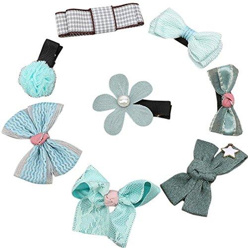 �dchen Haarnadel Kinder Schöne Bowknot Blumen Motive Haarspange Set für Alltag/Party/Geschenk (Blue) ()
