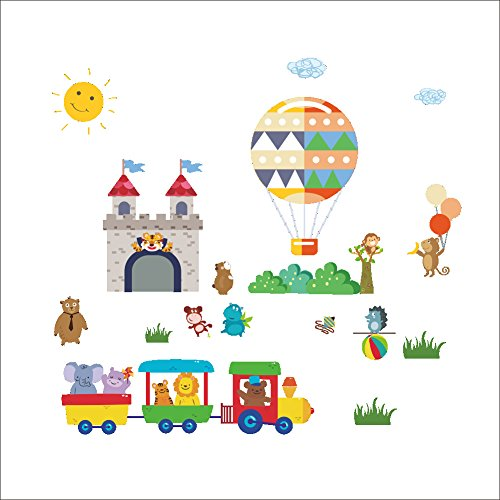 Cartoon Little Train Castle Hot Air Balloon Children'S Room Decoration Wall Sticker Sticker Stickers