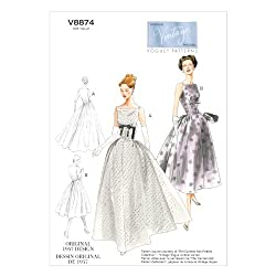 VOGUE PATTERNS V8874 Misses' Dress Sewing Template, Size A5 (6-8-10-12-14)
