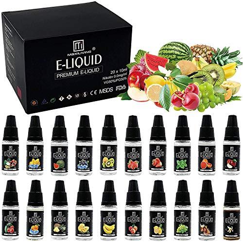 Maxiliving 20er x 10ml E Liquid 0,0mg Nikotin 20 Aromen e-liquid für E-Zigarette