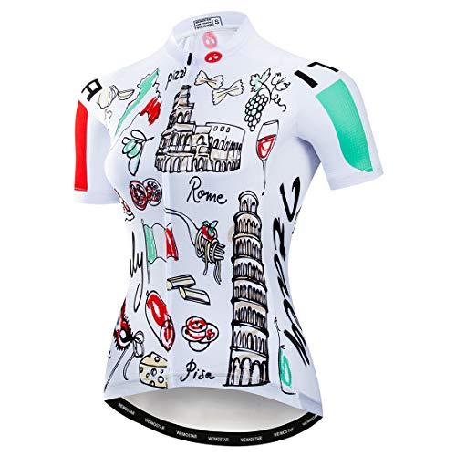 Radfahren Jersey Frauen Mountainbike Jersey Shirts Weibliche Rennrad Kleidung Pro Team MTB Tops Sommer Kleidung Italien Weiß Größe L