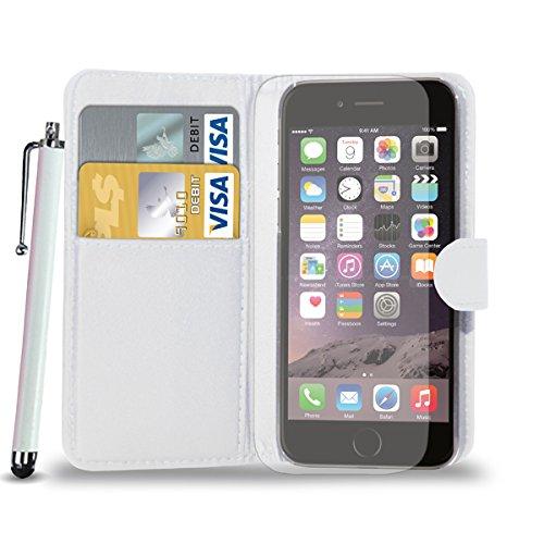 Apple iPhone 6S Plus - Leder-Mappen-Schlag-Fall-Abdeckungs-Beutel + Touch Stylus Pen + Screen Protector & Poliertuch (schwarz) White
