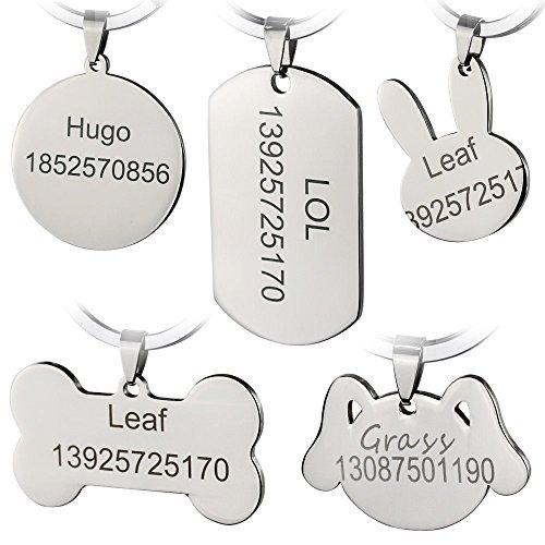 Bangoo Edelstahl Pet ID-Tags Personalisierte Individuelle Dog Tags Gravur vorne/hinten für Katze und Hund mit verschiedenen Formen