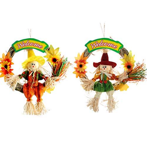IFOYO Vogelscheuche Dekor, Vogelscheuche Stab Halloween Dekoration für Garten, Haus, Hof, Veranda, Thanksgiving Decor Scarecrow Wreath
