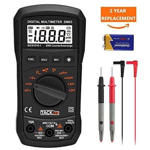 Multímetro Digital, Tacklife DM03 Polimetro profesional auto rango 2000 Counts amperímetro voltímetro ohmímetro con retención de dato MÁX para medir resistencia, diodo y continuidad audible
