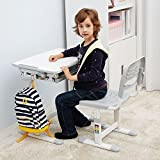 Escritorio para niños ergonómica mesa inclinable Silla de mesa ajustable para niños con cajón GRATIS Gato almohadilla del asiento - Mini (Gris)