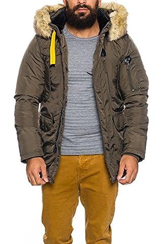 Designer Para Funktionsjacke Winter Herren Jacke Parka mit Fell und Kapuze S189 100 % Eyecatcher (XS, Khaki)