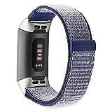 Uhrenarmband für Fitbit Charge 3,veyikdg Mode Ersatz Weiche Nylon Sport Schleife Klettverschluss Handgelenk Band Uhrenarmband 18mm Für Fitbit Ladung 3 (Blau)