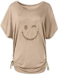 cd1c38bc7bea N115 Damen Batwing Shirt T-Shirt Longshirt Smiley Kurzarm Tunika Bluse Smily