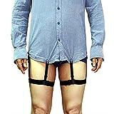Yezelend 1 Paar Shirt Stays (Hemd-Halter) Einstellbar Hemd Aufenthalte Strumpfband Hemdhalter Strumpf Gürtel für Hemd (Schwarz (Gummi Clips))