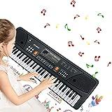 Tastiera Musicali, Tastiera Elettronica Portatile Bambini con 61 Tasti Multifunzione, Tastiera Pianoforte Tastiera Musicale per Bambini Regalo (Nero)