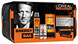 L'Oreal Men Expert Energy-Geschenkbag: mit Heat Protect Deo Spray (150 ml), Hydra Energy 24H Feuchtigkeitspflege (50 ml, Hydra Energy Duschgel (200 ml) und gratis Kulturtasche