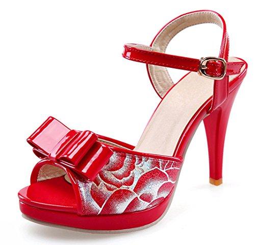 YE Damen Peep Toe High Heels Plateau Stiletto Sandalen Mit Riemchen 10cm Absatz Pumps Sommer Schuhe Mit Schleife Rot