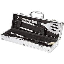 Meao 4 pezzi in acciaio inox Barbecue Set con Custodia in Alluminio - Professionale Griglia (Cucina All'aperto Bbq Accessori Grill)