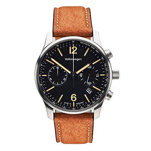 Volkswagen VW Herren Chronograph mit Braunem Lederarmband 33D050800 Armbanduhr Uhr Watch