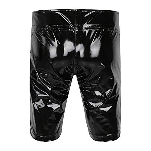 iEFiEL Herren Boxershorts Unterhose Slip Pants Hipster Lack Leder Wetlook Männer Unterwäsche schwarz M L XL XXL (XXL, Schwarz Boxershorts (Lang)) - 2