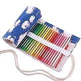Amoyie - Sacchetto della matita portamatite arrorolabile per 36 matite colorate porta penne tela wrap borse organizer astuccio portapenne scuola cassa del supporto di matita viaggio le orologio 36 holes