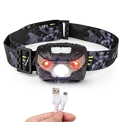 Stirnlampe, Stirnlampen Aufladbar USB Kopflampe, Led-stirnlampe Laufen Wasserdicht, Perfekt für Nachtlese, Camping, Joggen, Angeln, Abenteuer, Bergsteigen, Klettern, Fahrrad usw (inklusive USB Kabel)