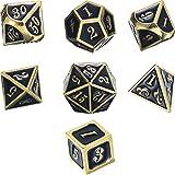 Znalloy Dadi Metallo Poliedrici 7-Die Dice Set per Dungeons and Dragons RPG Gioco dei Dadi D&D Insegnamento della Matematica, d20, d12, 2 Pezzi d10 (00-90 e 0-9), d8, d6 e d4 (Oro Lucido e Nero)