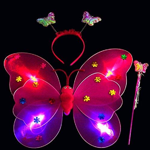 Set Girls Led Blinklicht Fairy Butterfly Wing Wand Stirnband Kostüm Spielzeug (hot pink) ()