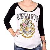 Harry Potter Damen Premium Vintage Logo Longsleeve - Hogwarts (Weiss) (S-L) (S)