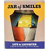 Smiles by Julie – Life & Laughter Quotes in a Jar – Fun Messages & Best Wishes Gift - Cheer Up Friends Every Day of the Month – Inspire Happiness – Laugh at Life – Get Well Soon – Glass Jar & Gift Box