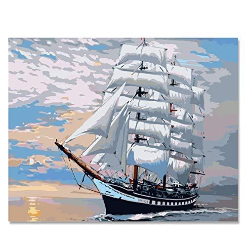 CUFUN Kunst Malen nach Zahlen Kit DIY Vorgedruckt Leinwand Ölgemälde Geschenke für Kinder Erwachsene Wand-Dekor ohne Rahmen 40x50cm (Segelboot) -