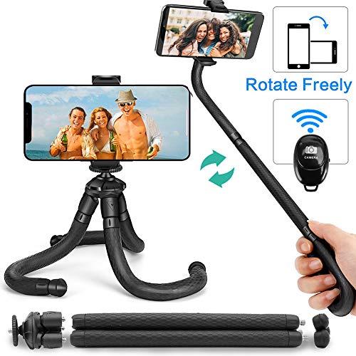 xibles Stativ für Smartphone Selfie-Stick mit Drahtloser Bluetooth-Fernbedienung, Mini-Reisestativ Compatible with iPhone, Android, Samsung und Andere Handy (Schwarz) ()