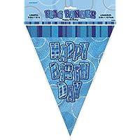 Unique Party 55300 Bandierine di Compleanno, Foil Blu Brillante