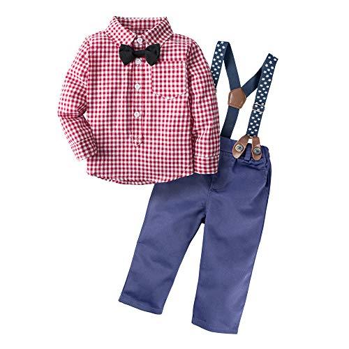 BIG ELEPHANT 2 Stück Baby Jungen Langarm Shirt Hosen Kleidung Set mit Hosenträger H03-Red-80 6-12 Monate, Rot ()